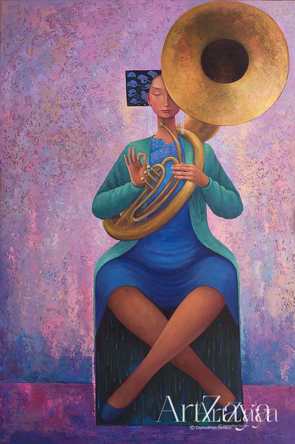 Woman with sousaphone