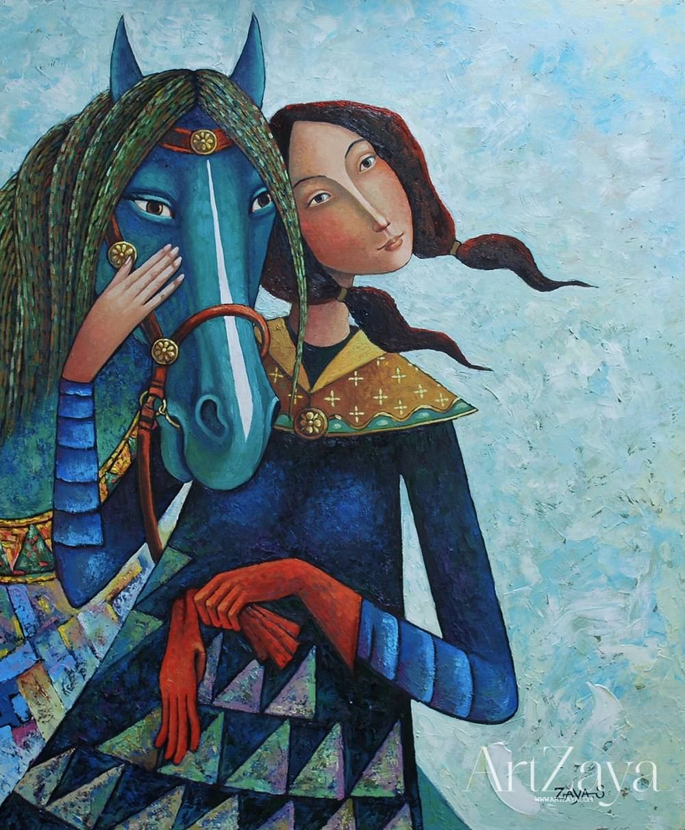 Girl with green horse